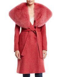 Fleurette - Wrap Coat W/ Wide Fur Collar - Lyst