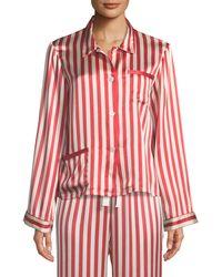 Morgan Lane - Americana Ruthie Long-sleeve Striped Silk Pajama Top - Lyst