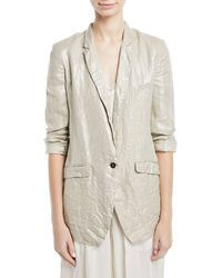 Giada Forte - Linen Laminated One-button Jacket - Lyst