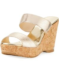Jimmy Choo - Parker Metallic Two-band Wedge Sandal - Lyst