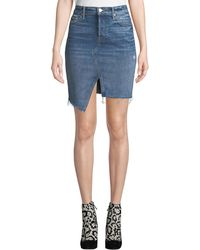 Mother - The Tomcat Slide Mini High-waist Frayed Denim Skirt - Lyst