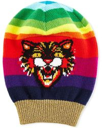 5d073eb82b9 Gucci - Wool Beanie Hat With Angry Cat Motif - Lyst