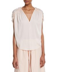 Vince - Ruched Short-sleeve V-neck Satin Blouse - Lyst