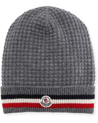 Lyst - Moncler Ribbed-knit Wool Beanie in Blue for Men cb82c36a56ea