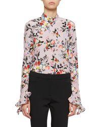 Erdem - Lindsey Bell-sleeve High-neck Floral Blouse - Lyst