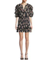 Rebecca Taylor - Smocked Short-sleeve Floral Ruffle Short Dress - Lyst