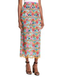 Delpozo - Multicolor Lace-guipure Pencil Midi Skirt W/ Floral Motifs - Lyst