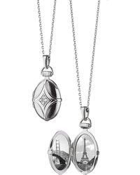 Monica Rich Kosann - White Sapphire Quatrefoil Locket Necklace - Lyst