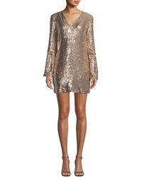 Nanette Lepore - Sestina Sequin Long-sleeve Mini Dress - Lyst