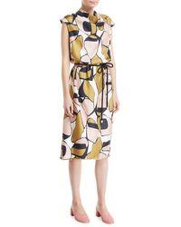 Marc Jacobs - Cap-sleeve Cowl-neck Printed Silk Dress - Lyst