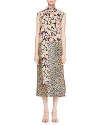 Dries Van Noten | Decussi Mixed-floral Tie-neck Dress | Lyst