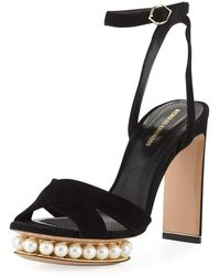 Nicholas Kirkwood - Casati Suede Pearly Platform Ankle-strap Sandals - Lyst