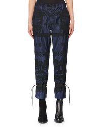 Sacai - High-rise Straight-leg Nylon Pants W/ Crochet Embroidery - Lyst
