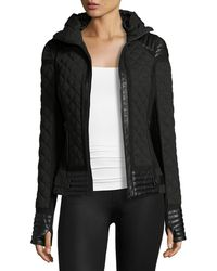 BLANC NOIR - Leather-Trim Quilted Moto Puffer Jacket - Lyst
