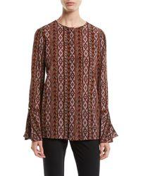 Lafayette 148 New York - Izzie Kilim Silk Blouse W/ Bell Sleeves - Lyst