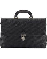 Ermenegildo Zegna Men's Pelle Tessuta Flat Briefcase Business Bag - Black