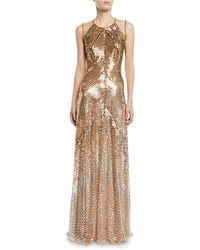 Jenny Packham - Sequined Combo Halter-neck Gown - Lyst