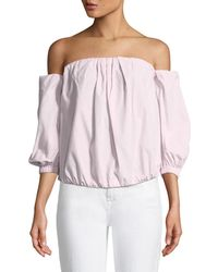 7 For All Mankind - Off-the-shoulder Puff-sleeve Poplin Top - Lyst