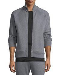 Ferragamo | Men's Stand-collar Zip-front Sweatshirt | Lyst