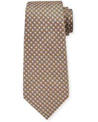 Ermenegildo Zegna Men's Micro-geo Silk Tie Yellow