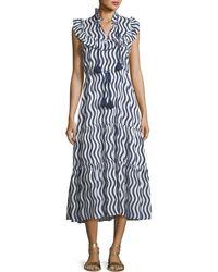 Figue - Lila Sleeveless River-stripe Midi Dress With Tassel-ties - Lyst