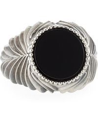 Emanuele Bicocchi - Men's Feathered Black Onyx Ring - Lyst