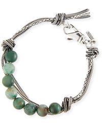 Emanuele Bicocchi - Men's Green Quartz Bead Bracelet W/ Knots - Lyst
