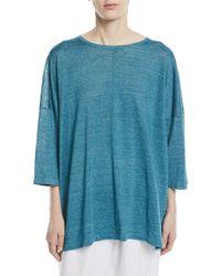 Eskandar - Wide Short-sleeve Knit Lightweight Linen T-shirt - Lyst