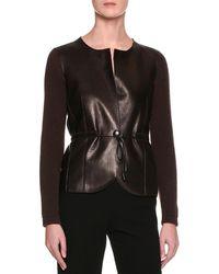 Giorgio Armani | Cashmere Sweater W/leather Front | Lyst