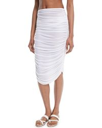 Norma Kamali - Shirred Knee-length Coverup Skirt - Lyst
