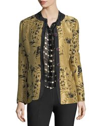 Etro - Golden Jacquard Jewel-button Long-sleeve Topper Jacket - Lyst