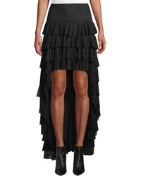 Norma Kamali - Ruffle High-low Mesh Skirt - Lyst