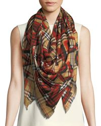 Burberry - Graffiti-print Check Wool-silk Large Square Scarf - Lyst