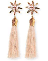 Sequin - Floral Crystal Tassel Earrings - Lyst