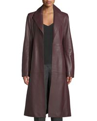 Theory - Cinched Trench Belted Luxe Napa Lamb Leather Trench Coat - Lyst