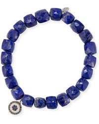 Sydney Evan - 8mm Cubed Lapis Beaded Bracelet With Concentric Eye Charm - Lyst