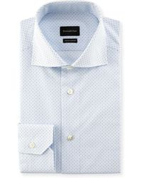 Ermenegildo Zegna - Trofeo Comfort Micro-print Cotton Dress Shirt - Lyst