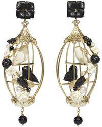 Of Rare Origin - Lovebirds Onyx Drop Earrings - Lyst