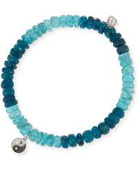 Sydney Evan - 14k Apatite Beaded Stretch Bracelet W/ Diamond Yin Yang - Lyst