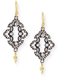 Armenta - Open Scroll Diamond Drop Earrings - Lyst