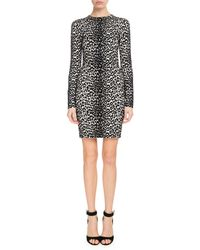 Givenchy - Long-sleeve Leopard-jacquard Body-con Dress - Lyst