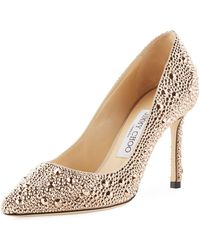 Jimmy Choo - Romy 85mm Satin Pumps With Hotfix Crystals - Lyst