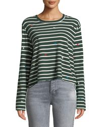 The Great - The Long-sleeve Crop Tee With Embroidery - Lyst