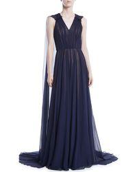 Jason Wu - V-neck Sleeveless Silk Crinkle Chiffon Evening Gown W/ Cape - Lyst