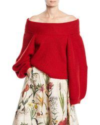 Oscar de la Renta - Off-the-shoulder Balloon-sleeve Wool Knit Sweater - Lyst