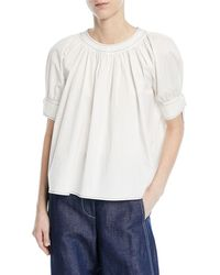 Rejina Pyo - Hailey Crewneck Short-sleeve Cotton Blouse - Lyst