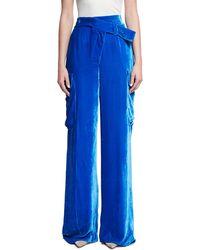 Monse - Wide-leg Velvet Cargo Pants - Lyst