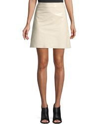 Theory - High-waist Crinkle Patent Leather Mini Skirt - Lyst