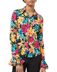 Michael Kors - Crushed Silk Floral Print Bell-sleeve Shirt - Lyst
