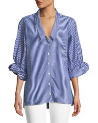 VICTORIA / TOMAS - Striped Button-down Blouse With Rolled Sleeves - Lyst